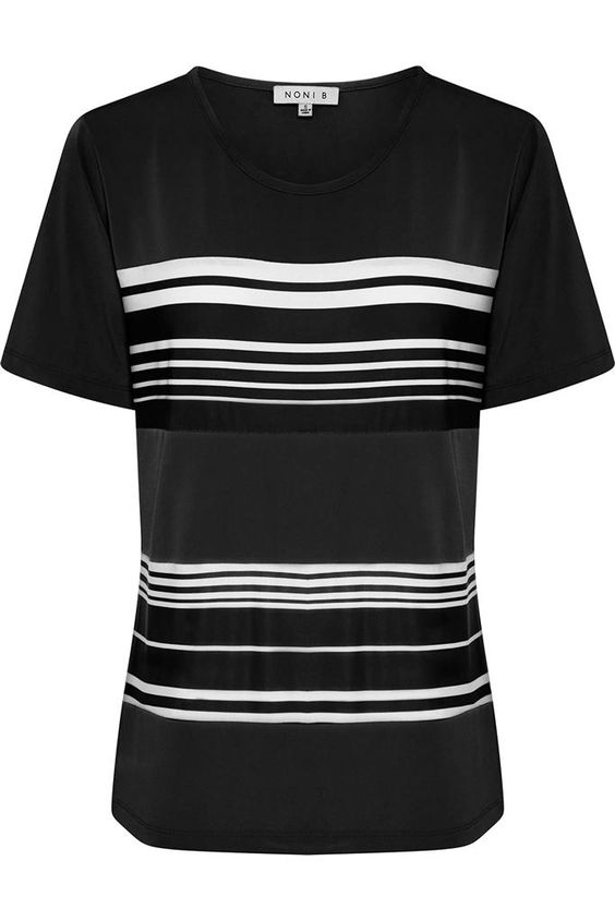 NONI B Block Stripe Tee $39.95 AUD  Short sleeve tee with block stripe front Polyester /Elastane  Item Code: 047625