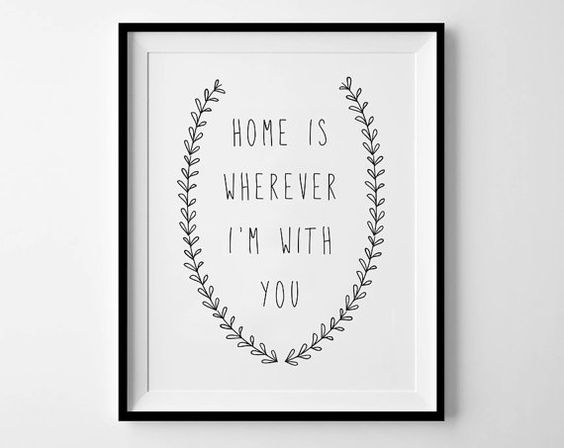Home Is Wherever I'm With You - Instant Download - 8x10 - 11x14 - Printable art - Wreath - Black - Typography - Happy Art - Home Decor