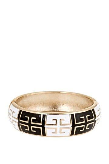 Fornash  Black and White Grecian Bangle