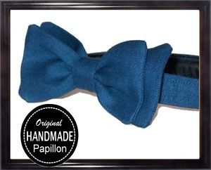Uomo-PAPILLON-blu-LINO-ARTIGIANALE-CRAVATTINO-farfallino-BOW-TIE-idea-regalo
