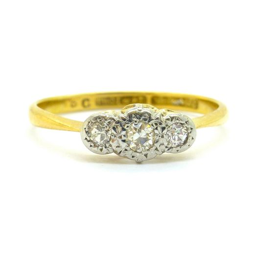 Neat Antique diamond Trilogy engagement ring 18ct Platinum 3 Three stone c1930s Classic Vintage English vintage Anniversary*FREE SHIPPING* by vintagejewelbox on Etsy