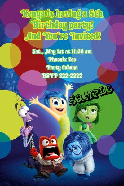 Inside Out Movie Birthday Invitations Digital Download Get
