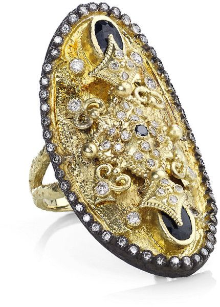 Armenta Dulcinea Diamond and Black Sapphire Ring in Gold