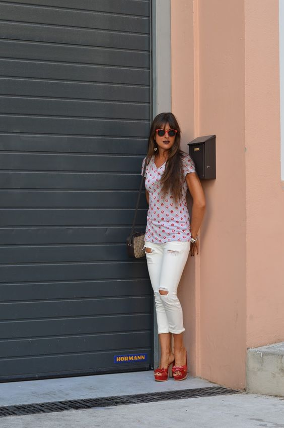 Old Tee White Distressed Jeans and Red Mules