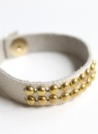 Leather white and gold studded bracelet   www.ustrendy.com