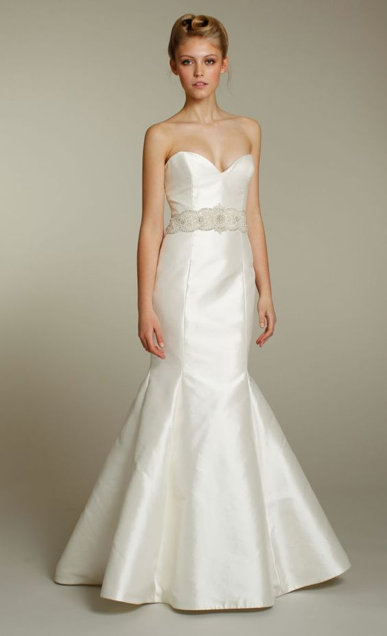 Sleek ivory sweetheart mermaid wedding dress with beautiful embellished sash-Tara Keely