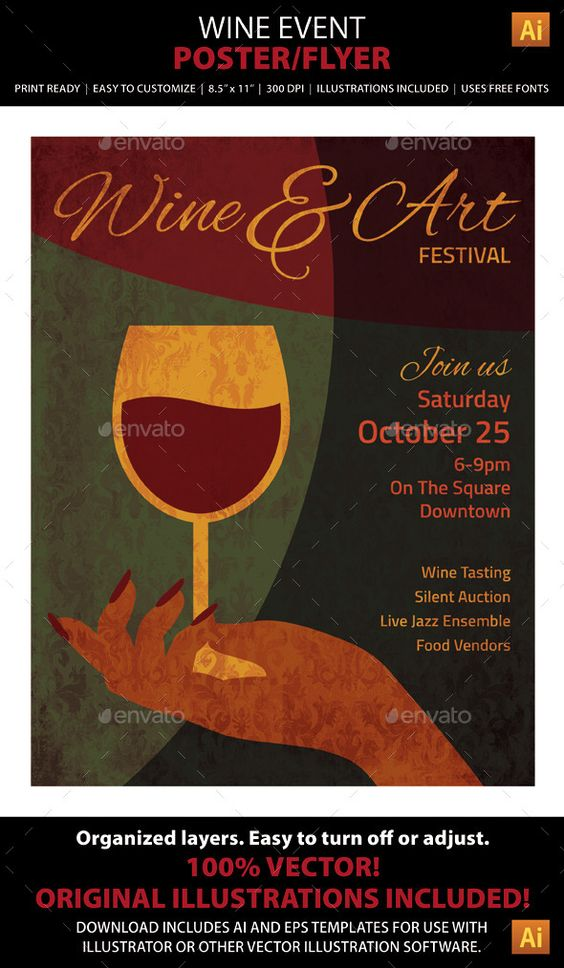 wine art event poster or flyer festivals the o 39 jays and postcards. Black Bedroom Furniture Sets. Home Design Ideas