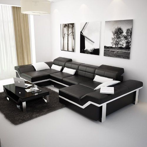 This Black U0026 White Modern Leather Sectional Sofa Is Designed With 2 Large  Black Loungers So Everyone Can Sit Super Comfortably. This Black Leather U2026