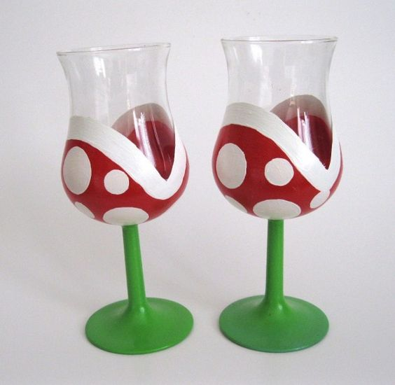 Hand-Painted Mario Piranha Plant Drinking Glasses... If only I drank wine