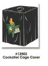 Black cloth cage cover with cloth appliqu