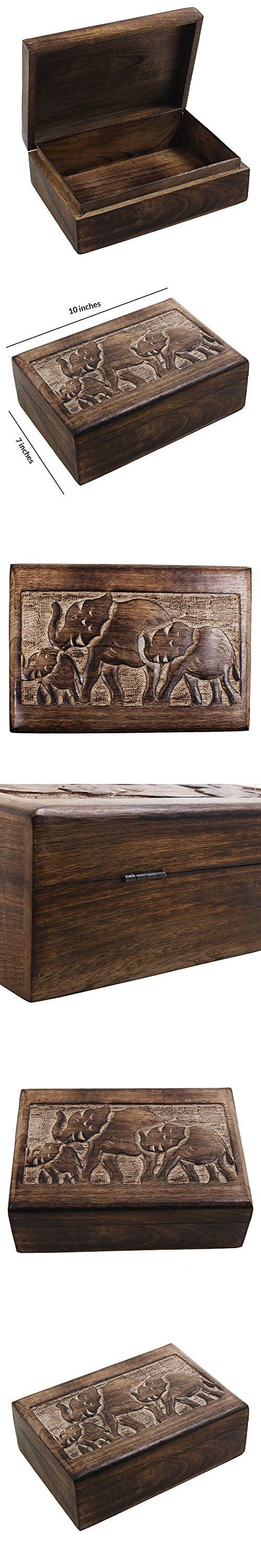 Rakhi Gift for Sister Country Rustic Wooden Keepsake Storage Box Jewelry Organizer Multipurpose with Hand Carved Elephant Motif