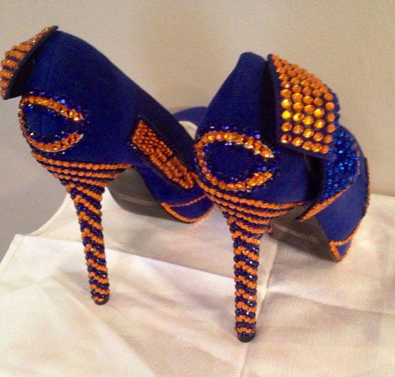 Custom heels Chicago Bears heels Bears bling by Blingshoeshop
