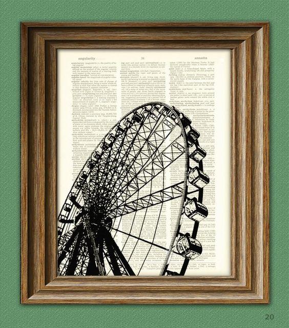 FERRIS WHEEL Art Print Carnival ride illustration by collageOrama, $6.99