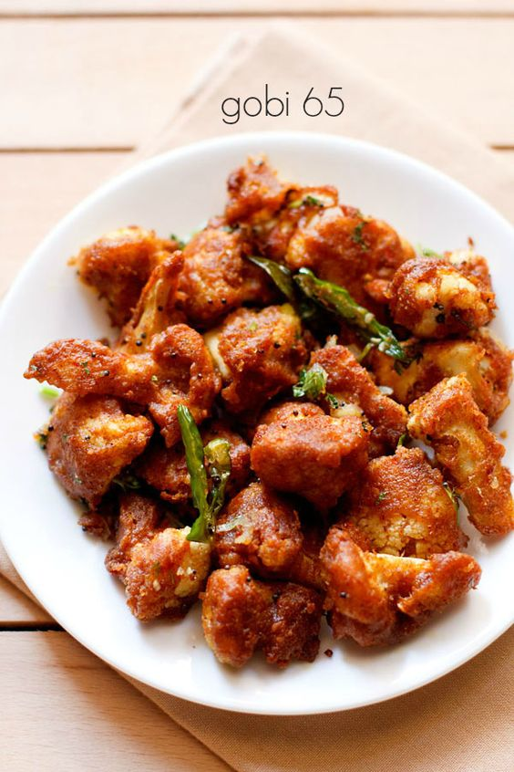 gobi 65 recipe - a crispy snack of spicy fried cauliflower florets. make as a starter dish or as an evening snack #streetfood #gobi65