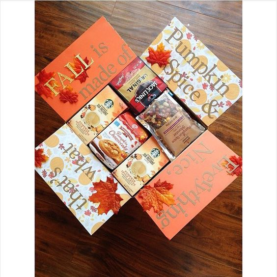 Pumpkin spice themed care pacakge -- Thanksgiving care package ideas - TodayWeDate.com