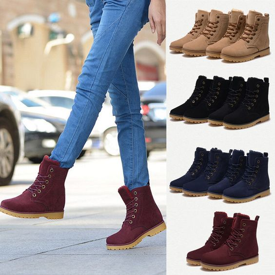 Womens Mens Genuine Leather Mid Calf Boots Snow Boots Warm Winter ...