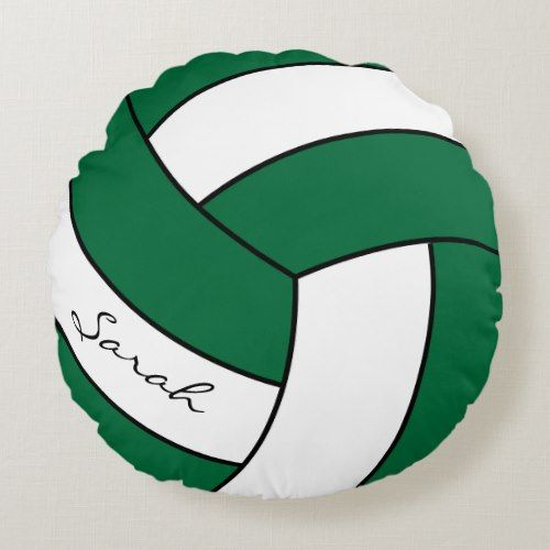Dark Green White Volleyball Diy Name Sport Round Pillow Zazzle Com Round Pillow Custom Personalized Gifts Green White