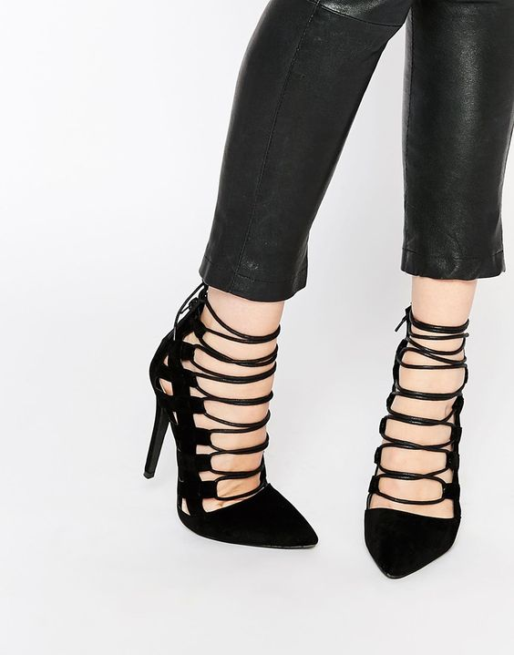 Missguided lace-up black heels