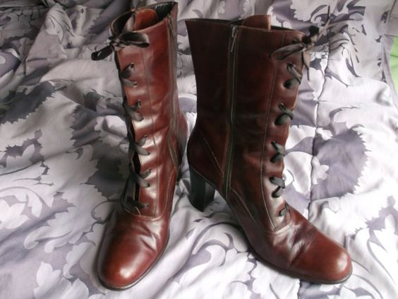 Victorian Brown leather boots size 10. $70.00, via Etsy.