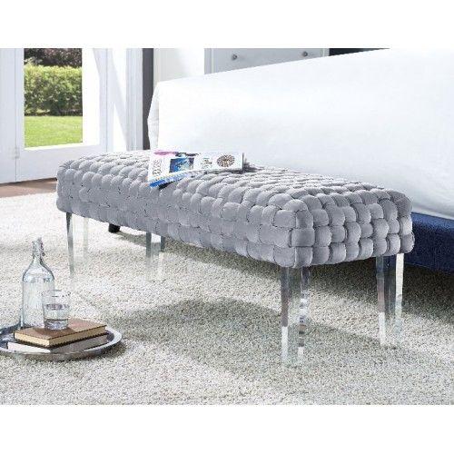 Grey Woven Velvet Bench Acrylic Legs Velvet Bench Furniture Velvet Bedroom