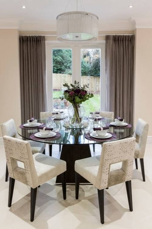 Dining Room Decorating Ideas Transitional With Images Round