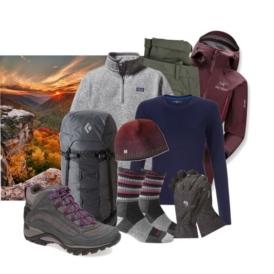 Fall Hike in the Mountains by leighannlikesthis on Polyvore featuring John Lewis, Patagonia, Arc'teryx, G1, Smartwool, Darn Tough, Merrell, Black Diamond and Mountain Hardwear