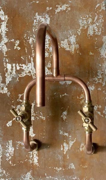 Loop Wall Mount Industrial Handmade Copper Faucet Copper Taps Copper Faucet Copper Bathroom