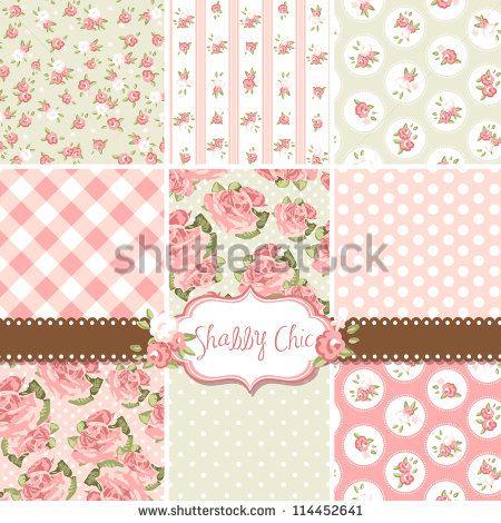 Patrones Shabby Chic Rosados y fondos sin fisuras. Ideal para la impresión sobre tela y papel o libros de recortes.