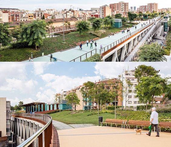 منتزه rambla de sants في #برشلونة. بدلا من تخصيص مساحة على الأرض لهذا المنتزه الجديد أحيط مسار سكة القطار ببناء خرساني وبنيت الحديقة فوقه