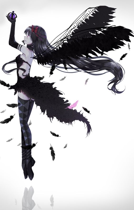Manga démon violet et noir cehveux noir