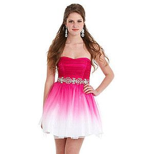 Hot short ombré pink and white Semi Formal prom homecoming ...