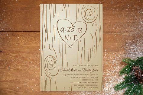 Fall Carving Wedding Invitations by Amanda Joy at minted.com