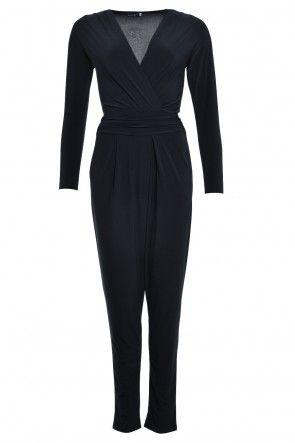 Jess V Neck Long Sleeve Jumpsuit in Black