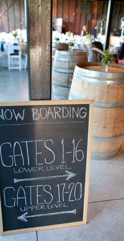"LDR Wedding  ""Now Boarding"" Signs Extend the plane saga all throughout the wedding. On the reception, have boarding signs available for your guests. You can play with airport terms when announcing table numbers. Just for fun, you could even ask the waitress and waitresses to dress as flight attendants to set the mood. It'll be a fun flight!"