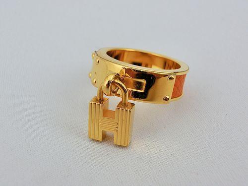 Authentic Hermes Scarf Ring Goldtone Orange Leather Kelly H Cadena