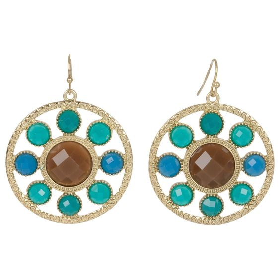 Kirra Tate Disk Brown and Blue Earrings, Love these!