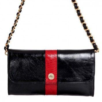 """Mit der klassischen Londine Baguette Bag """"Carriacou"""" in Schwarz-Rot trägst du den perfekten Begleiter immer bei dir."""