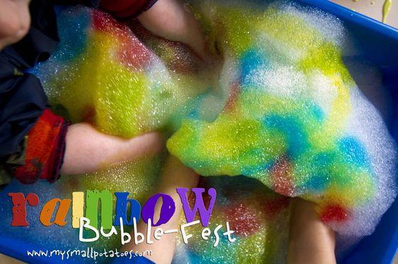 rainbow bubbles for sensory table