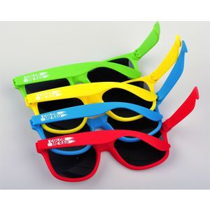 Printed sunglasses with rubber finished pantone colour matched frames from as few as 150 pieces