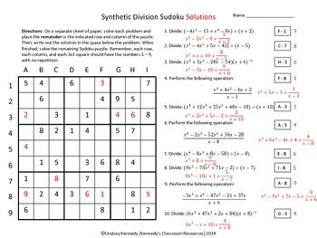 Printables Synthetic Division Worksheet division on pinterest in this worksheet students will practice synthetic a fun sudoku puzzle materials included solutions the student directions on