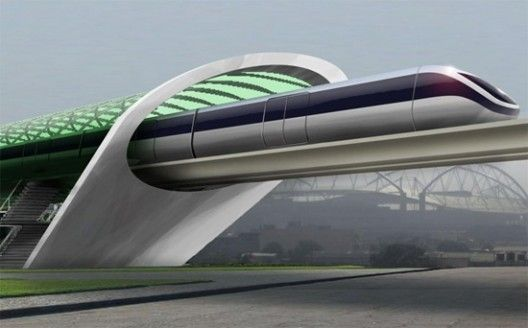 A concept rendering for Aeromovel, a system Elon Musk cites as similar to his Hyperloop.