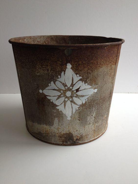 Stenciled vintage metal sap bucket 10 vintage metal for Old metal buckets
