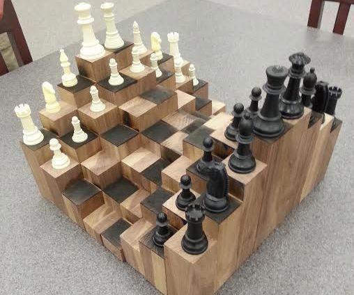Ein Mehrstufiges 3d Schachbrett Aus Walnuss Gefertigt Ist Jeder Block Zu Einem Anderen Block Einem Woodworking For Kids Chess Board Fine Woodworking