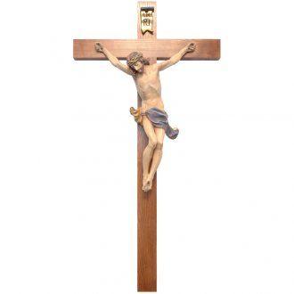 Crucifijo cruz recta modelo Corpus, madera Valgardena Antiguo do | venta online en HOLYART