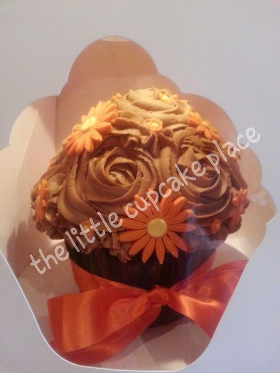 Chocolate and butterscotch giant cupcake