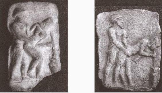 Arqueología e Historia del Sexo: Sexo en Mesopotamia Fig.1 Placa de terracota de Babilonia / Fig.2 Placa de terracota de Uruk (Warka) Museo Arqueológico de Berlín.