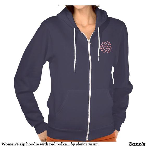 Women's zip hoodie with red polka dots