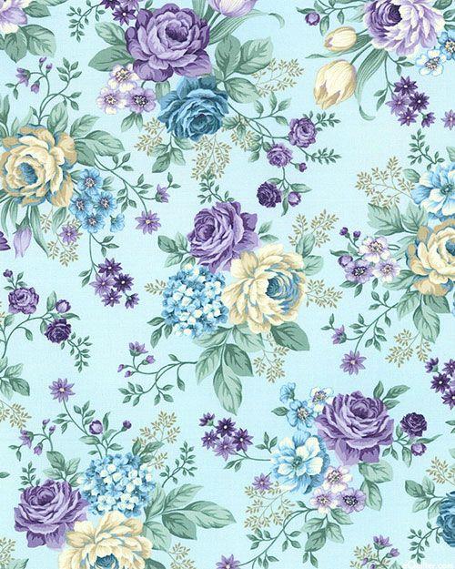 Twilight Garden Quiet Rose Powder Blue Vintage Flowers Wallpaper Flower Background Wallpaper Floral Wallpaper