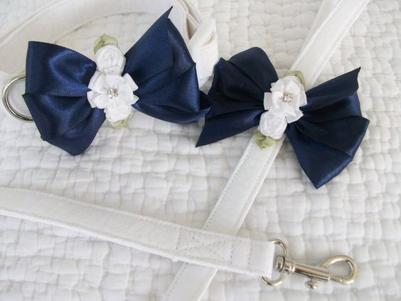 Wedding Leash and Collar Dog Collar and Leash by graciespawprints