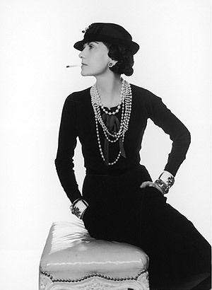 Iconic photograph of Coco Chanel in profile